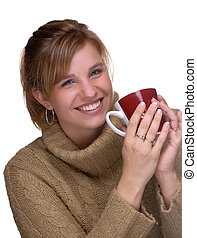 Winter Warmth - Young Woman With Pony Tail Holding A Mug Of...