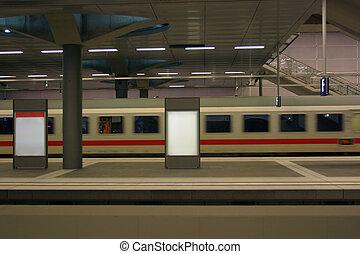 Modern train arriving - Train at underground station. Clean...