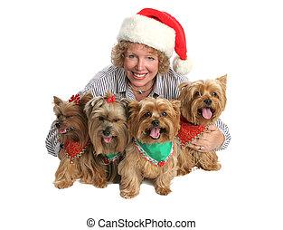 Christmas Dog Family - A woman posing for a Christmas...