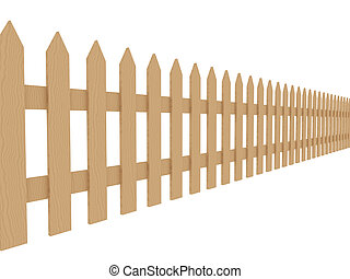 Wooden Fence 2 - 3D rendered illustration Isolated on white...