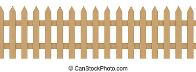 Wooden Fence 1 - 3D rendered illustration Isolated on white...