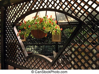 Lovely Garden Terrace - -- with flowers and lattice fence