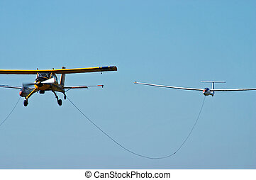 Sport aeroplane tow glider - Sport plane and glider in the...