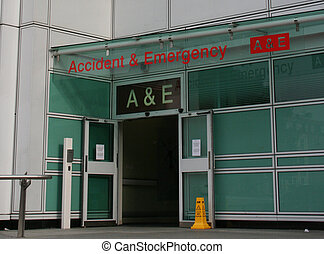 Accident and Emergency entrance to a hospital