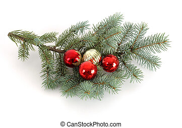 Christmas Bough 1 - blue spruce bough decorated with...