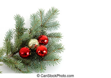 Christmas Bough #2 - blue spruce bough with christmas...
