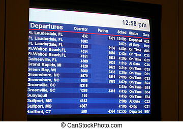 Departures 2 - Departure screen at busy airport