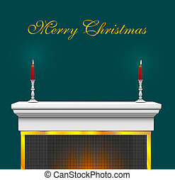 Christmas Mantle Bkg - Fireplace Mantle with candles and...