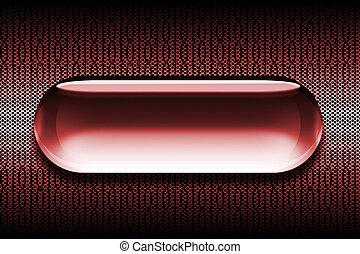 rojo, vidrio, tela, botón
