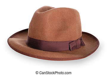 Classic mens brown hat isolated - has clipping path without...