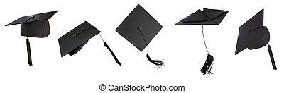 Tossing mortarboards - Tossing of 5 mortar boards -clipping...