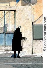 widow in black - elderly widow in black in greece