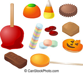 Halloween candy. Caramal apple, pumpkin jelly, candy corn,...