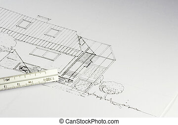 blueprint of a building 02 - cad draft of a house - living...