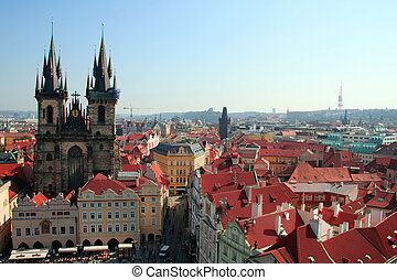 Prague Old Town - Overview of the Old Town square in Prague...