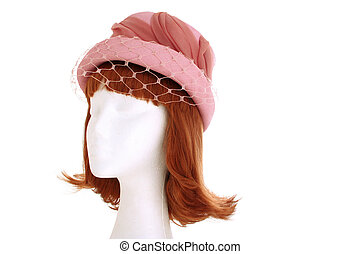 Ladies pink hat - A 1940s style ladies hat on a manequin...