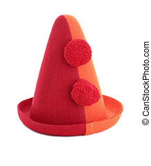 Clown hat - A red and orange clown hat with pom poms...