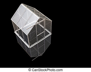 Greenhouse - 3D render of a greenhouse on a black background