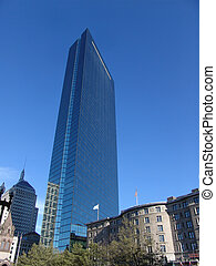 John Hancock Tower above Copley Plaza - Tallest building in...