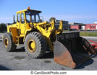 Shovel dozer on an industrial site
