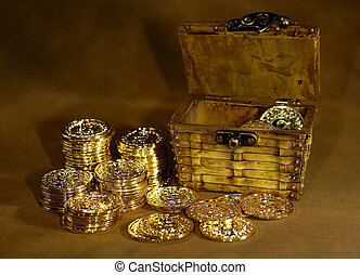 Gold Coins - Photo of Gold Coins and a Chest