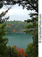Pink lake in Autumn - Pink Lake in Gatineau Park, Quebec