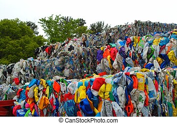 Plastic recycling - Bundles of plastics at the recycle...