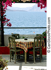 greek island taverna scene