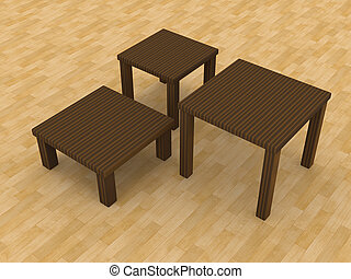 Coffee Tables - 3D Illustration.