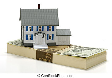 Real Estate - Photo of a Miniature House on Top of Money -...