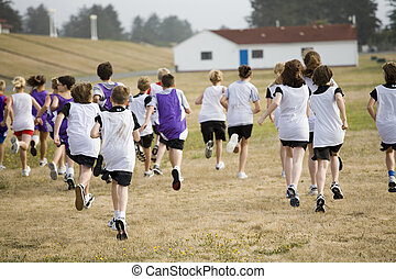 Two Cross Country Teams Racing - Two teams of cross country...