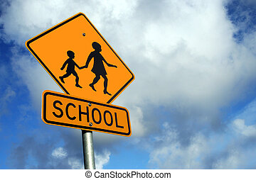 Watch out for Childr - Yellow school road sign against a...