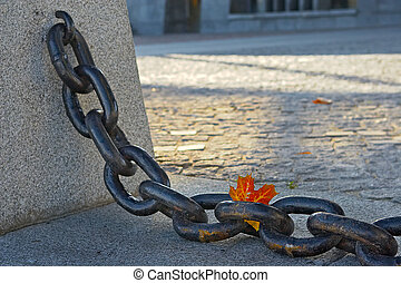 Beauty of  fading autumn and rusty chain