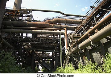 rusty pipes from old blast furnace 09 - details from an old...