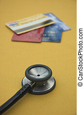Credit check - Credit Cards and medical stethoscope...