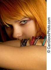 look - dark portrait of lovely redhead