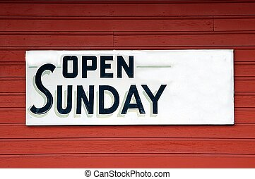 Open Sunday Sign - Photographed open Sunday sign in Georgia.