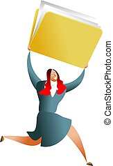 folder success - business woman carrying giant folder of...