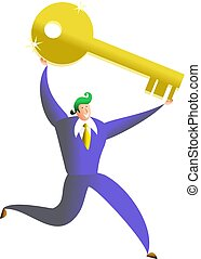 key to success - business man carrying giant golden key -...