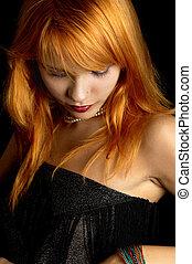 dark redhead portrait - dark portrait of lovely redhead