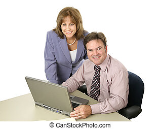 Happy Business Team - A male female business team working...