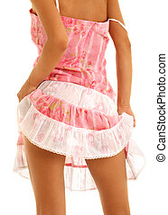 pink dress - classical up-skirt picture of fit lady