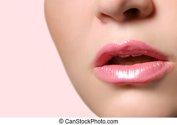 glossy lips - pink glossy lips with copyspace