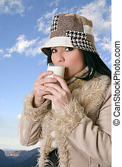 Female with glass of milk