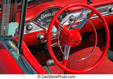 Vintage Car Dash Board and Wheel - Details of a vintage...