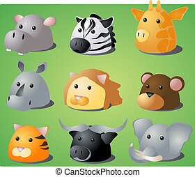 Cartoon safari animals - Cartoon illustration of African...
