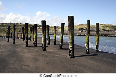 Rivermouth - Wooden poles stand out of the sand at Patea,...