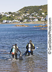 Scuba Diving 01 - Entering the water at Island Bay,...