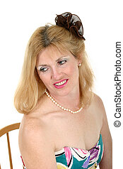 Smiling Middle Aged Woman Looking to Side