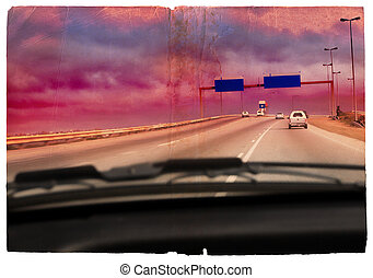 Grunge driving into the storm - Illustration of a...
